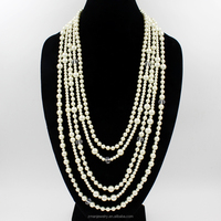 2015 Wholesale high quality multi layer pearl necklace with glass