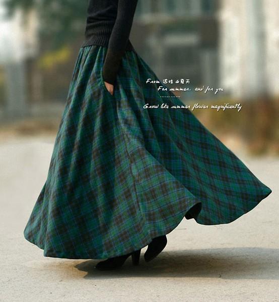 2017 Wholesale 2015 Autumn New Fashion Long Plaid Skirt Vintage ...