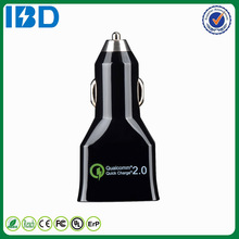 2015 Hot IBD 5v/2.4a 9v/2a 12v/2a Qualcomm certificated Quick charge 2.0 car charger with dual usb port