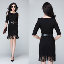 Office ladies sexy short seleeve hollow fringed botton dress