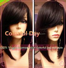 Hot Human Hair Short Bob Full Lace Wig/Lace Front Wig 130% Density Right Side Bangs