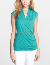 CHEFON Draped crisscrossing front soft womens semi formal tops and blouses 2015