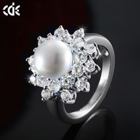 CDE Fashion Jewellery Pearl Ring Designs 925 Silver China CZ Rings