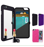 Popular Mirror Case With Card Holder PC+Leather Phone Case for iPhone 6/6s,Cell phone Compact Mirror Cases Cover