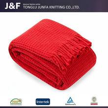 China manufacturer warm soft red wool organic crochet baby blanket