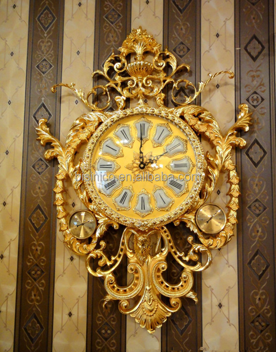 Luxury European Bronze Hanging Wall Clock,Retro Brass With 24k Gold ...