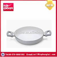 Smokeless ceramic coating fry pan with double handle