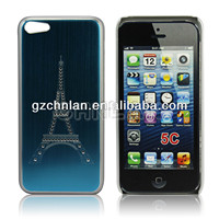 Diamond Effiel tower pattern luxury thin brush aluminum case for iphone 5c
