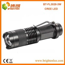 Hot Sale Bright 1AA or 14500 Portable Aluminum Zoom Focus Pocket 7w 300lm mini cree led flashlight Torch with Clip