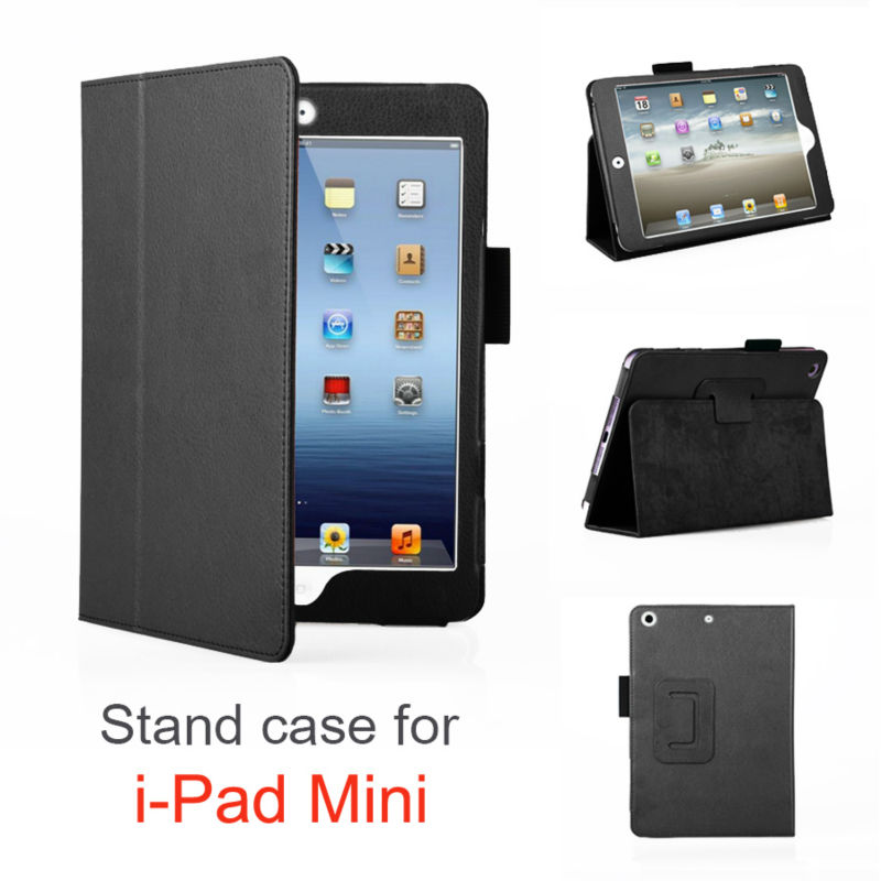 Book style suede full frame install stand case for ipad mini