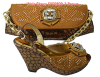 nigerian party high heel shoes and bag to match brown shoes and bag SY50809-3