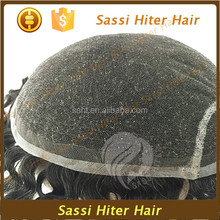 Thin skin base men's toupee v loop knotted hair natural looking toupee for men