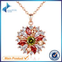 china women artificial diamond flower crystal pendant imitation cubic zirconia charm necklace jewellery