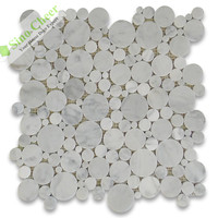 MS0537 white and round stone marble mosaic tiles on mesh