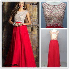 9873 elegante gasa a mano con cuentas vestidos largos de fiesta