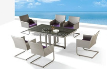 Morden Rattan Wicker Dining Table and Chairs for 6 persons (DH-9722)