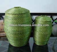 Green vietnam laundry basket in bamboo and rattan