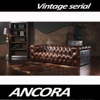 Button Tufted Upholstered Leather Sofa Set/Retro Vintage Style Genuine Leather Chesterfield Sofa A116A