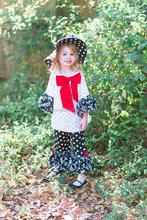 Girls Outfit Ruffle Pants Peasant Top 2 pieces Complete Handmade Christmas Outfit for Little Girls and Toddlers