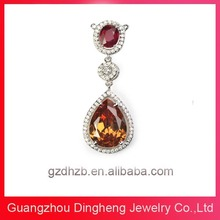 China Wholesale Fashion Stylish Hot Girls Topaz Gemstone Costume Jewelry Necklaces Pendants 925 Sterling Silver