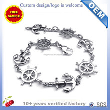 316L Stainless Steel NAUTICAL SAIL BOAT WHEEL anchor bracelet steel/gold/rosegold color