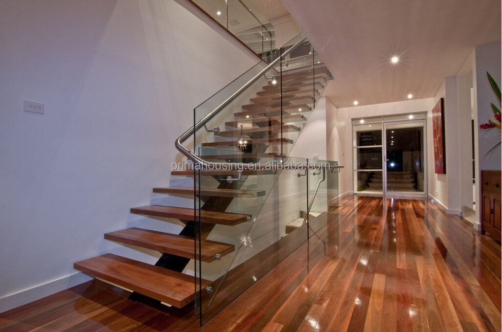 Interior Decorative Glass Wood Prefabricated Stairs View