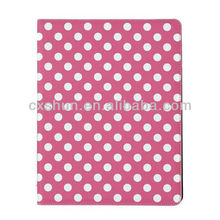 Pink and White Polka Dot Pattern PU Leather Case For iPad mini