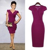 Z70801M 2015 sexy purple V-collar slim short dresses OL office women's dress