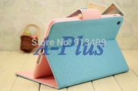 3pcs/lot New Blue Korea Fashion Synthetic Leather Foldable Skin Case Cover Stand For iPadMini 9765