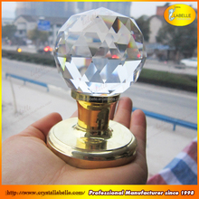 60MM CLEAR CRYSTAL GLASS MORTICE DOOR KNOB PAIR GlASS KNOB