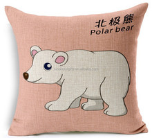 China factory direct supply alibaba 100% cotton and linen selling well fashion high quality sea bear square car pillow for baby