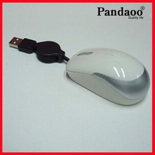 Mini Usb 2.0 Retractable wired Laptop Optical Mouse