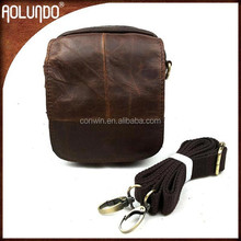 2015 cheap crazy horse leather men mini messenger bag