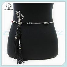 New Designed Fashion Women Long Thin Leather Wooden Beads Belt