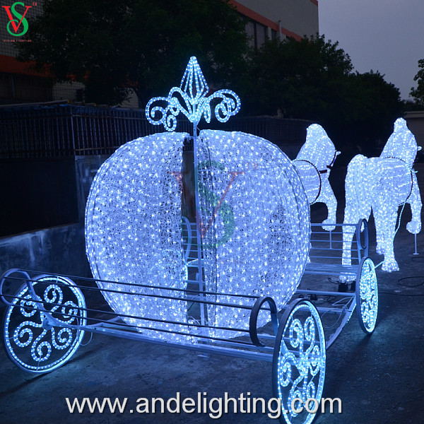 4jpg - Christmas Lighted Horse Carriage Outdoor Decoration
