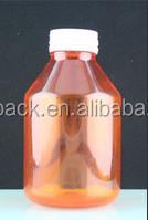 nature plastic pet amber 400ml Round pharmaceutical medicine pet blow container with theft-proof screw cap