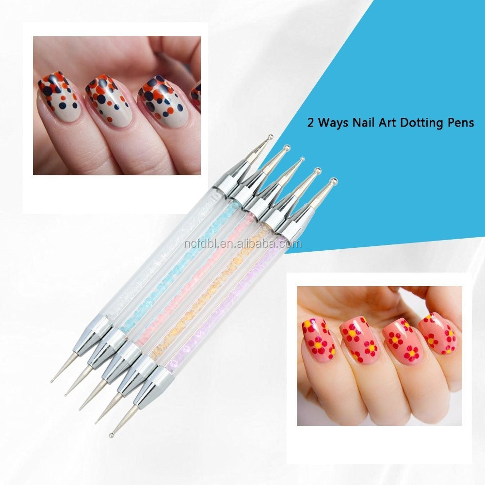 5pcs Double End Nail Art Design Painting Dotting Pens Dot Pencil ...