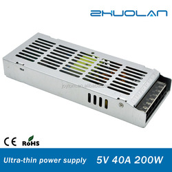 200w Aluminum Shell ultra thin switch mode power supply ac dc 5v 40a led driver
