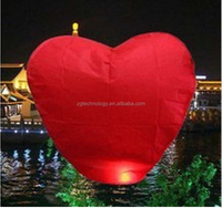 Red Heart Sky Lanterns Chinese Paper Sky Candle Fire Balloons for Wedding / Anniversary / Party / Valentine