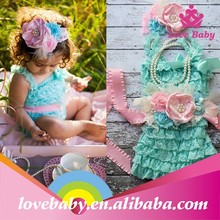 Wholesale boutique stylish aqua lace rompers for baby girls