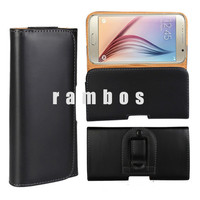 Smooth PU Leather Holster Pouch Belt Clip Mobile Cell Phone Cover Case for Samsung Galaxy S6 Edge