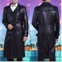 Mens Full Length Sheep Leather Blazers Long Coats Business Coats