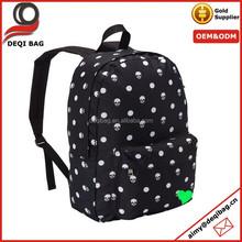 Black White Skull Polka Dot Backpack School Bag