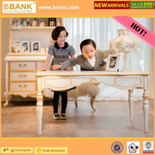 (BK0105-70307)Child Study Desk/Luxury Royal Kids Study Table and Chairs/Wooden Hand Carved Kids Reading Table