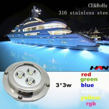 RGB color 9W 316 stainless steel IP68 boat parts & accessories