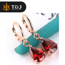 2015 fashion high quality Rose Gold Filled Pink/Red/Green/Champagne CZ Stone Drop Dangle Earrings