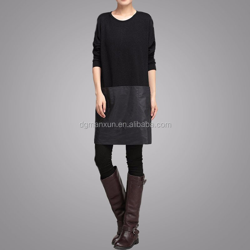 Handmade Customized High Quality Fashion Women Black Block Clothing Long Sleeve Round Neck Apparel Loose Elegant Garment (2).jpg