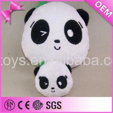 Cute emoji soft plush panda head, diy stuffed toys panda