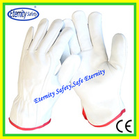 Double palm reinforced cow grain leather safety protective leather safety long labor glove for duty work