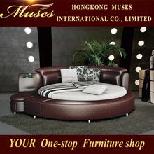 2015 new modern design leather round bed B80037